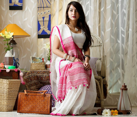 white and pink linen saree - lydiaspurple