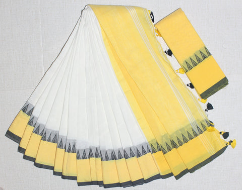 TKWYKCS- soft temple border  white and yellow  khadi cotton saree with contrast blouse