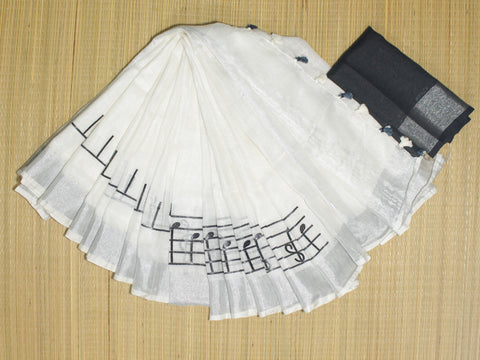 BHMIWBLS- white and black musical instrument embroidered linen saree with silver zari  with contrast blouse