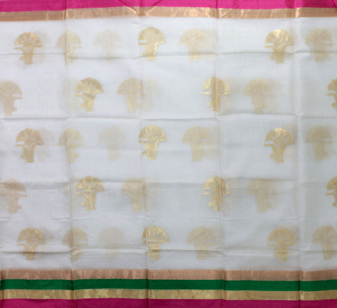 IKSW-WHITE kota SILK saree with zari butta and satin zari borde - LydiasPurple