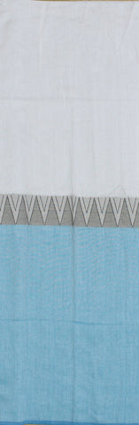 whitish blue khadi cotton saree with temple border body - lydiaspurple