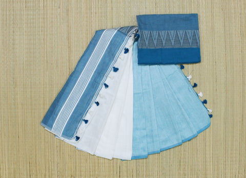 whitish blue khadi cotton saree with temple border - lydiaspurple