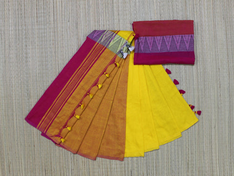 yellow khadi cotton saree with temple border- lydiaspurple