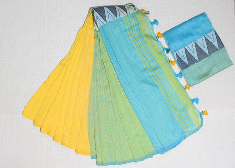 LPMKC14-handloom khadi cotton saree with temple thread border in mid saree