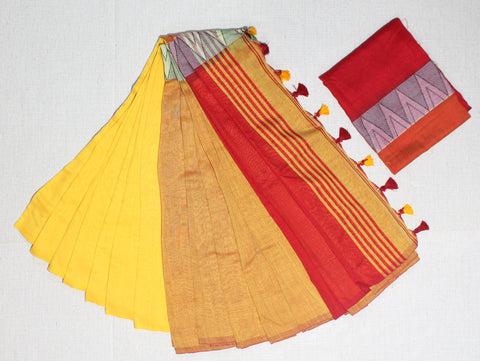 LPMKC10-handloom khadi cotton saree with temple thread border in mid saree