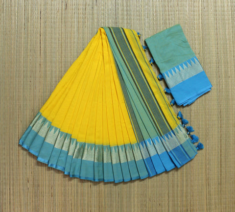 yellow and blue khadi cotton saree with temple border