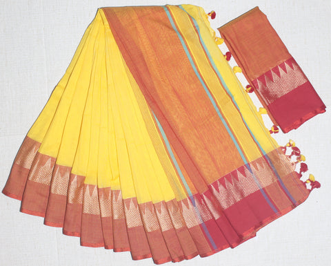 TKYRKCS- soft temple border  yellow and red khadi cotton saree with contrast blouse