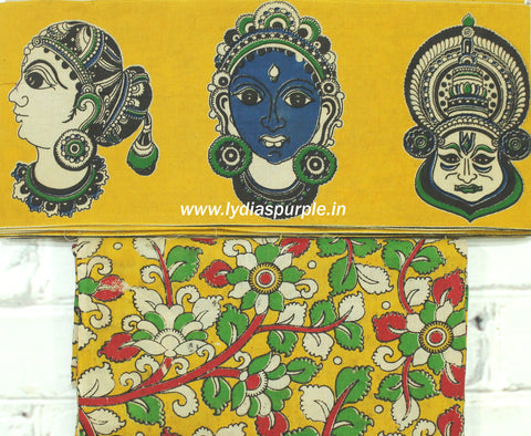 FYKBB01-yellow faces kalamkari border paired with floral blouse - Lydiaspurple
