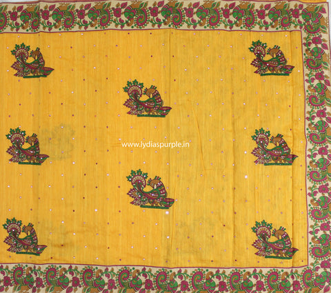 CSKAY- Chanderi Sico kalamkari Applique work  Yellow saree - LydiasPurple