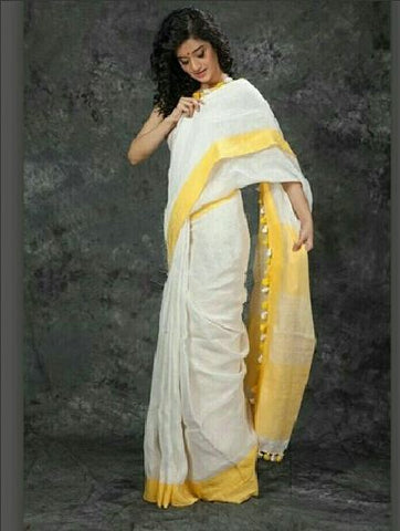 plain linen saree yellow color - lydiaspurple