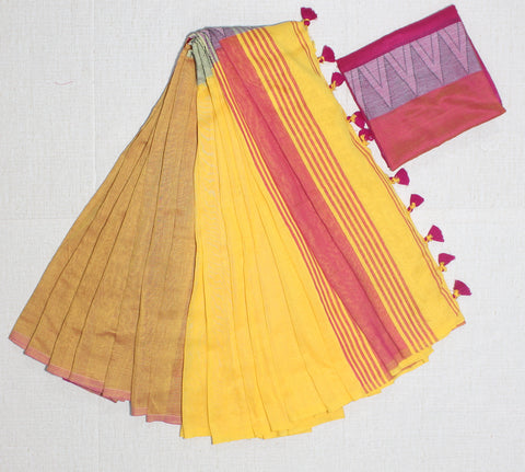 LPMKC15-handloom khadi cotton saree with temple thread border in mid saree