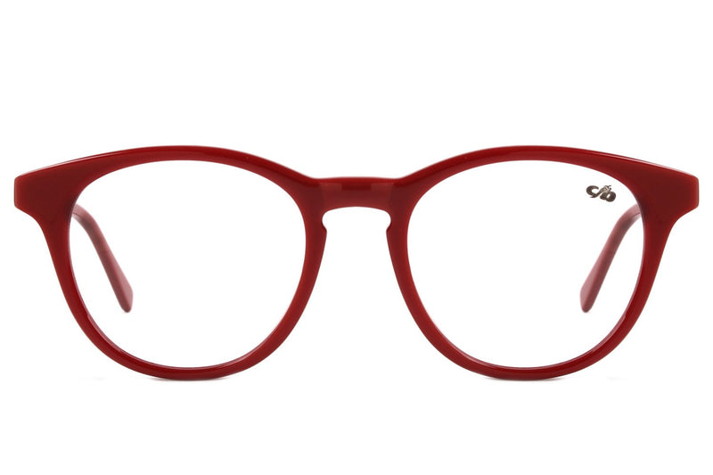Round Optical Glasses Red Acetate