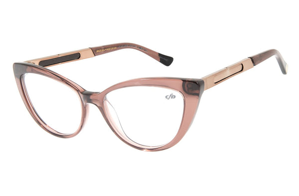 Reverse Cat Eye Optical Glasses Brown Acetate