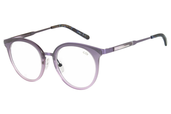 Double Lenses Round Optical Glasses Purple Nylon