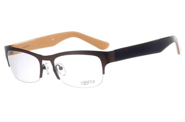 Square Optical Glasses Brown Stainless Steel