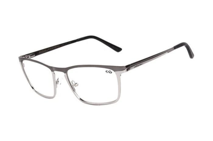 Square Optical Glasses Silver Metal