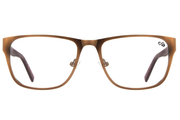 Square Optical Glasses Brown Metal