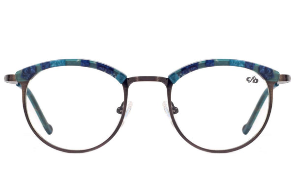 Round Optical Glasses Blue Metal