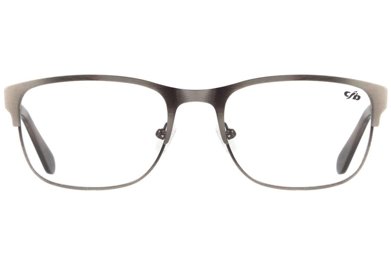 Square Optical Glasses Gray Metal