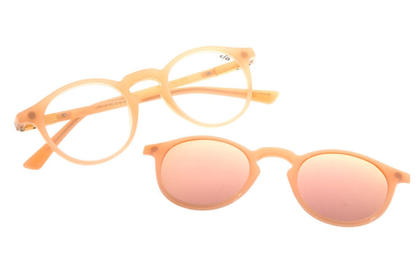 Round Optical Glasses Beige Tr90