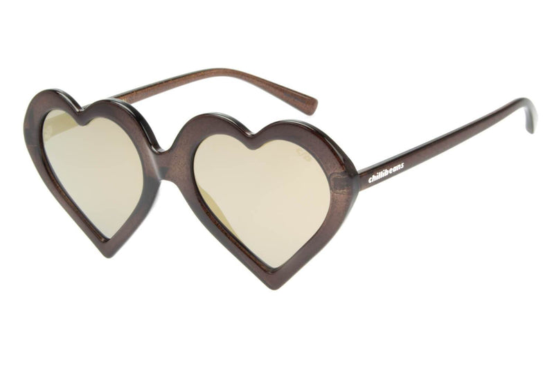 Heart Shaped Sunglasses Golden Polycarbonate