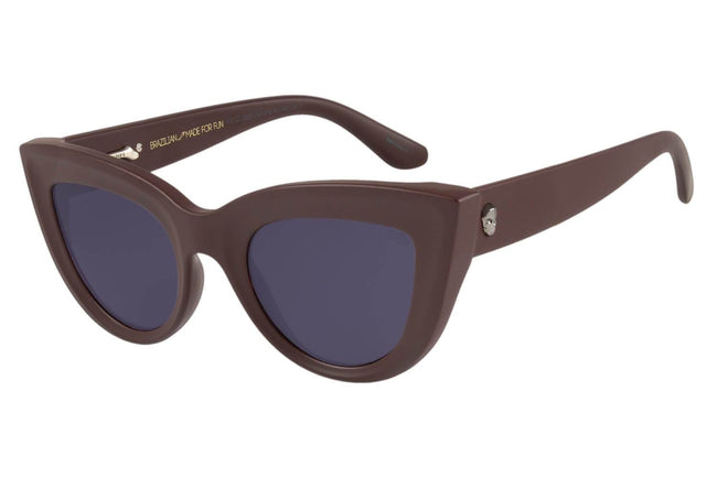 Skulls Cat Eye Dark Brown Sunglasses by Chilli Beans