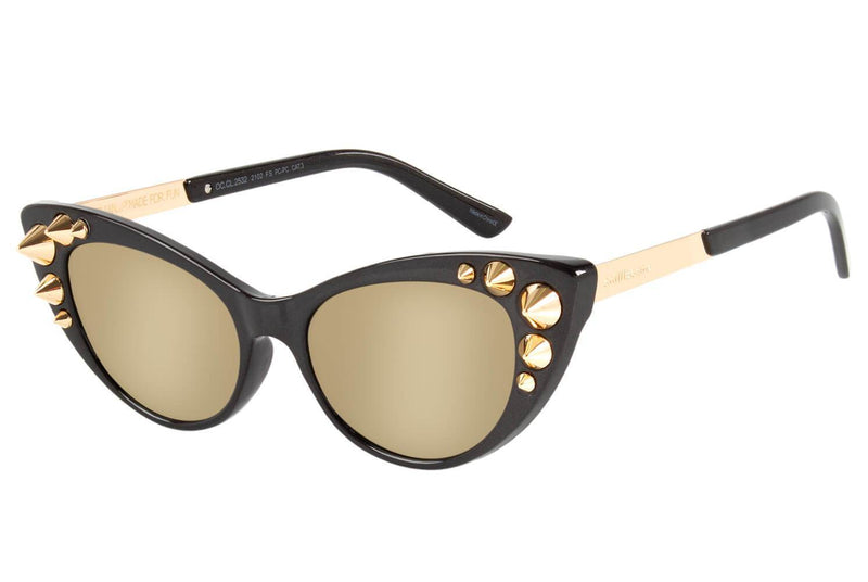 Cat Eye Sunglasses Golden Polycarbonate
