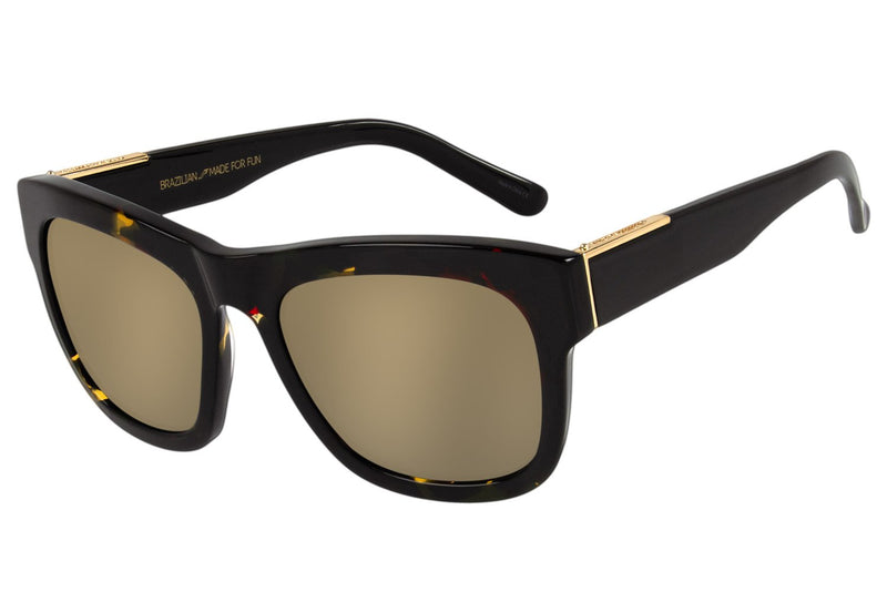 Square Sunglasses Golden Acetate