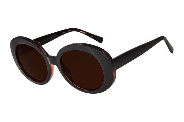 Round Sunglasses Dark Brown Polycarbonate