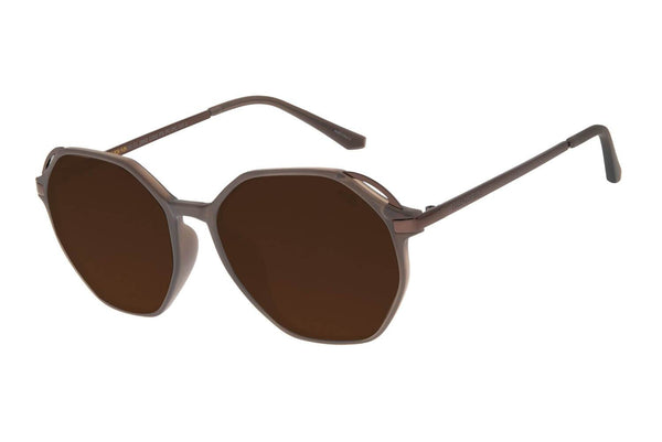Round Sunglasses Brown Polycarbonate