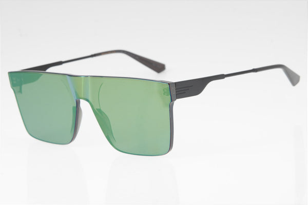 Alok Square Sunglasses Green Mirrored Polycarbonate