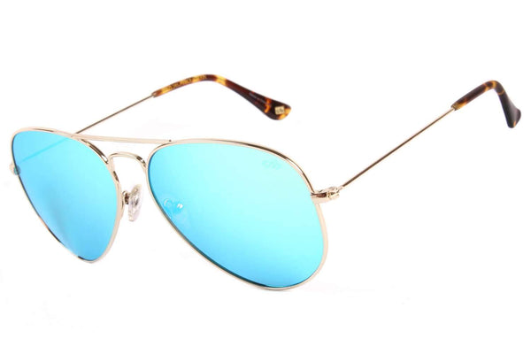 Aviator Sunglasses Blue Mirrored Stainless Steel