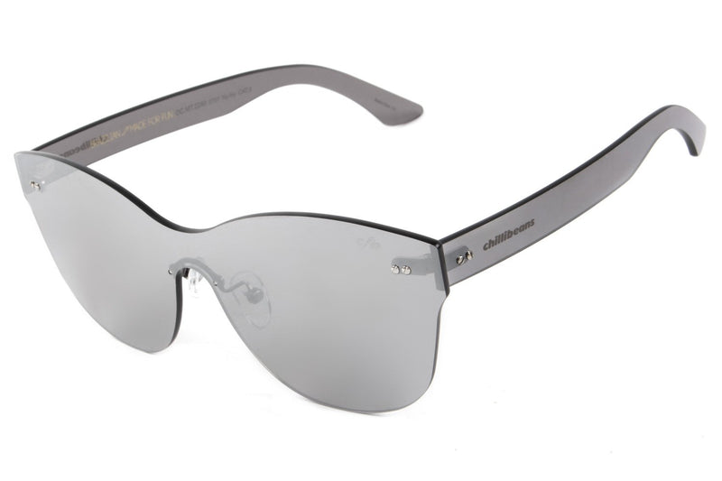 Mask Sunglasses Silver Nylon