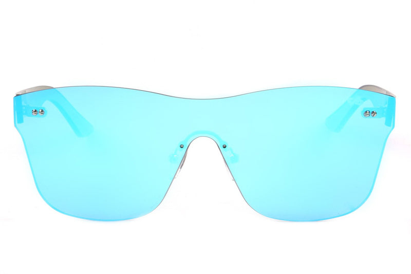 Mask Sunglasses Blue Mirrored Nylon