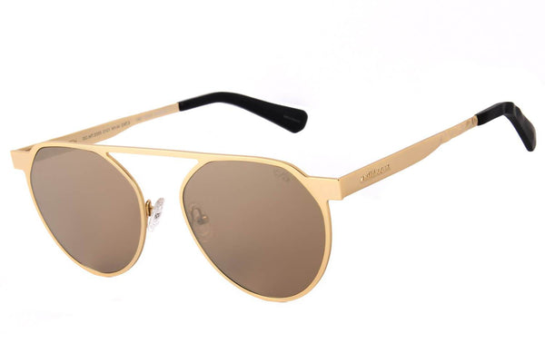 4 Elementos Round Sunglasses Golden Gold Metal