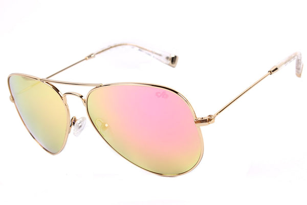 4 Elementos Aviator Sunglasses Mirrored Gold Metal