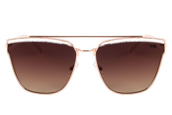 4 Elementos Square Sunglasses Brown Stainless Steel