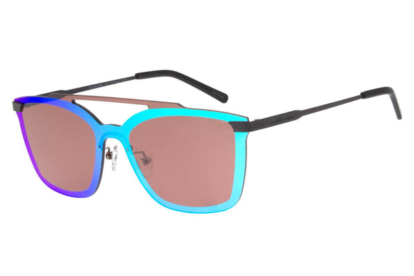 Double Lenses Square Sunglasses Green Mirrored Copper