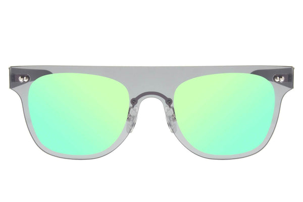 Double Lenses Square Sunglasses Green Mirrored Stainless Steel