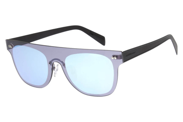 Double Lenses Square Sunglasses Blue Mirrored Stainless Steel