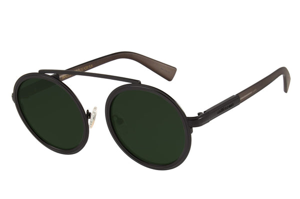 Alok Round Sunglasses Green Stainless Steel