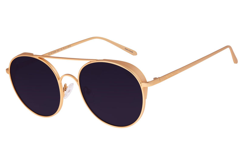 Gold Round Sunglasses Smoke Stainless Steel