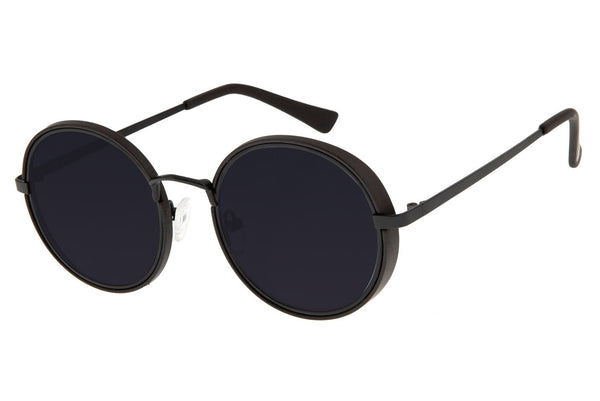 Bamboo Round Sunglasses Black Stainless Steel