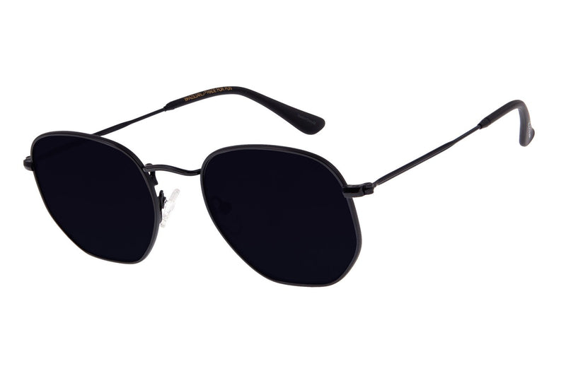 Round Sunglasses Black Stainless Steel