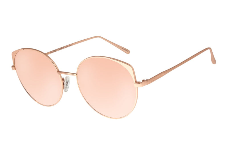 Gold Round Sunglasses Rose Stainless Steel
