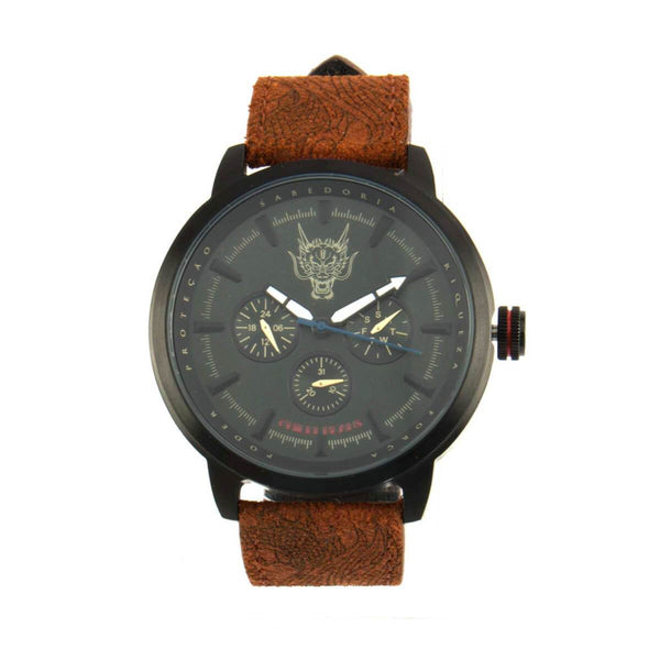 Round Watch Brown Metal