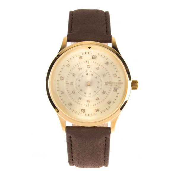 Round Watch Brown Brass