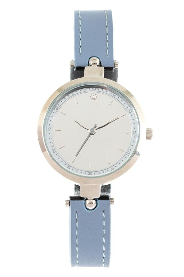 Reverse Round Watch Light Blue Brass