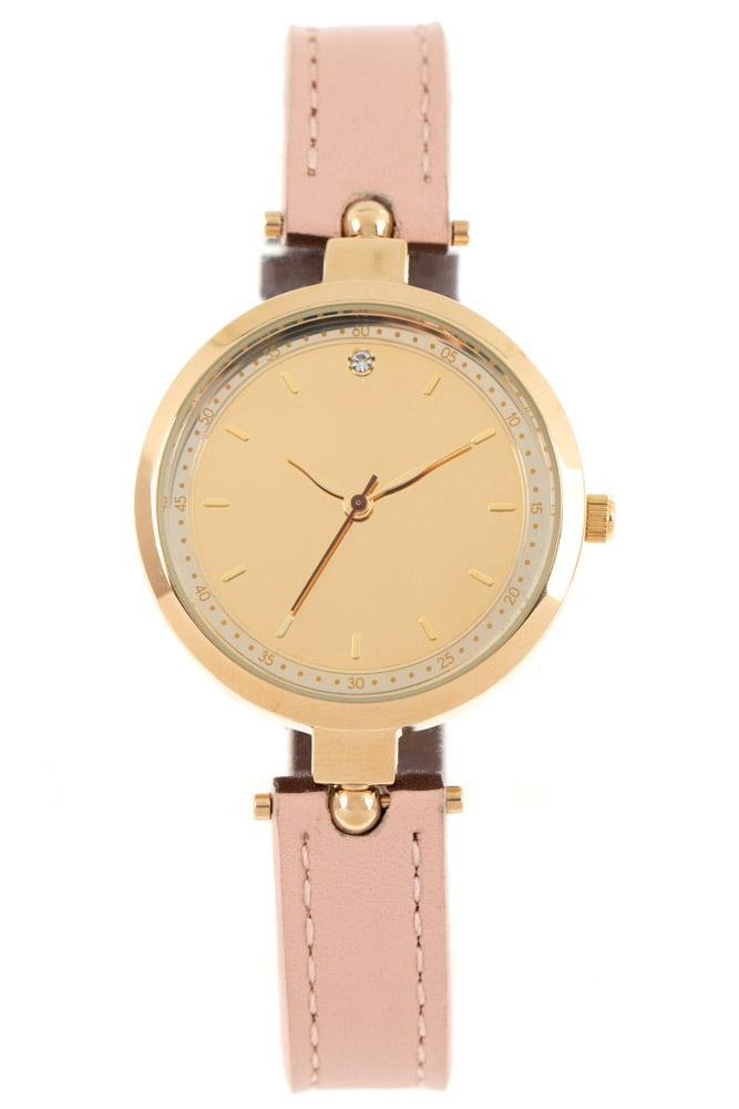 Reverse Round Watch Lilas Brass