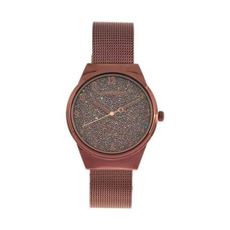 Crystal Round Watch Brown Brass